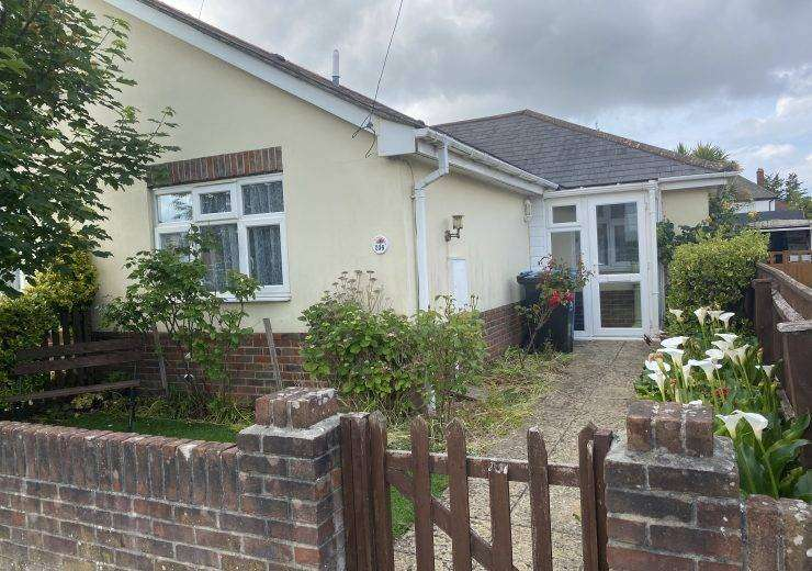 Two double bedroom semi detached bungalow on a level plot